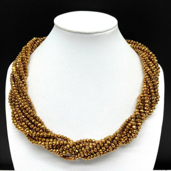 Saachi Brown Copper Tone Crystal Beaded Necklace
